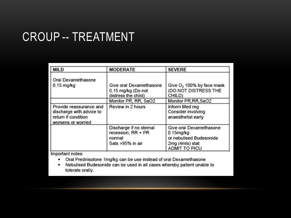 Croup -- treatment