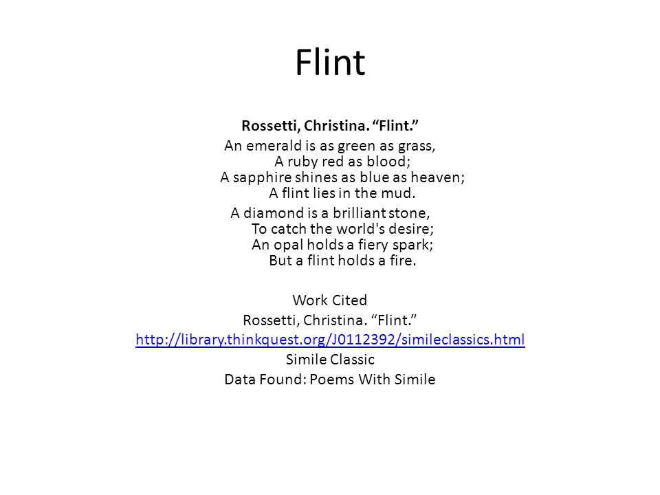 Flint Rossetti, Christina. Flint.