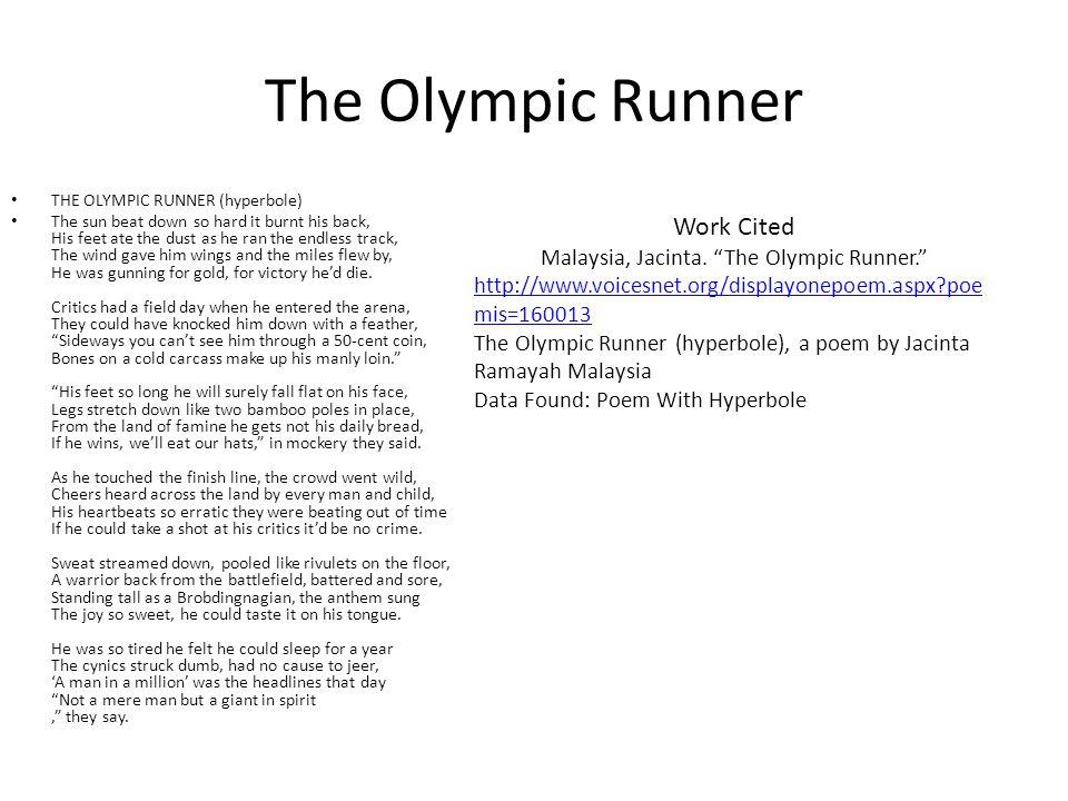 Malaysia, Jacinta. The Olympic Runner.