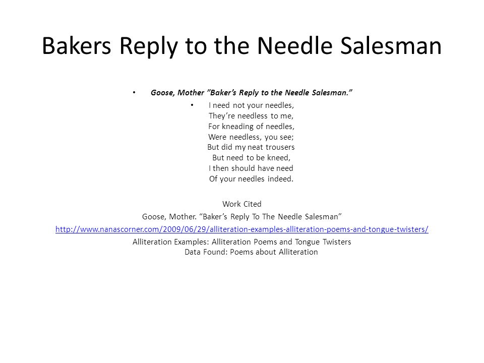 Bakers Reply to the Needle Salesman