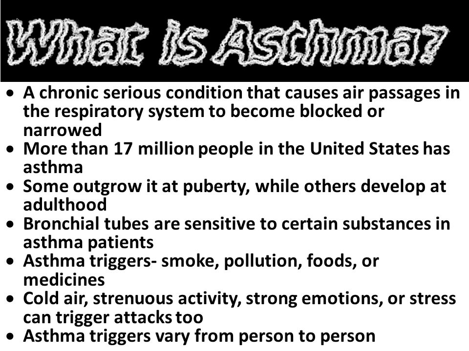 A chronic serious condition that causes air passages in the respiratory system to become blocked or narrowed