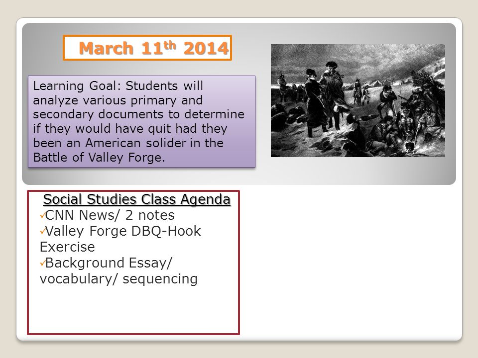 Social Studies Class Agenda