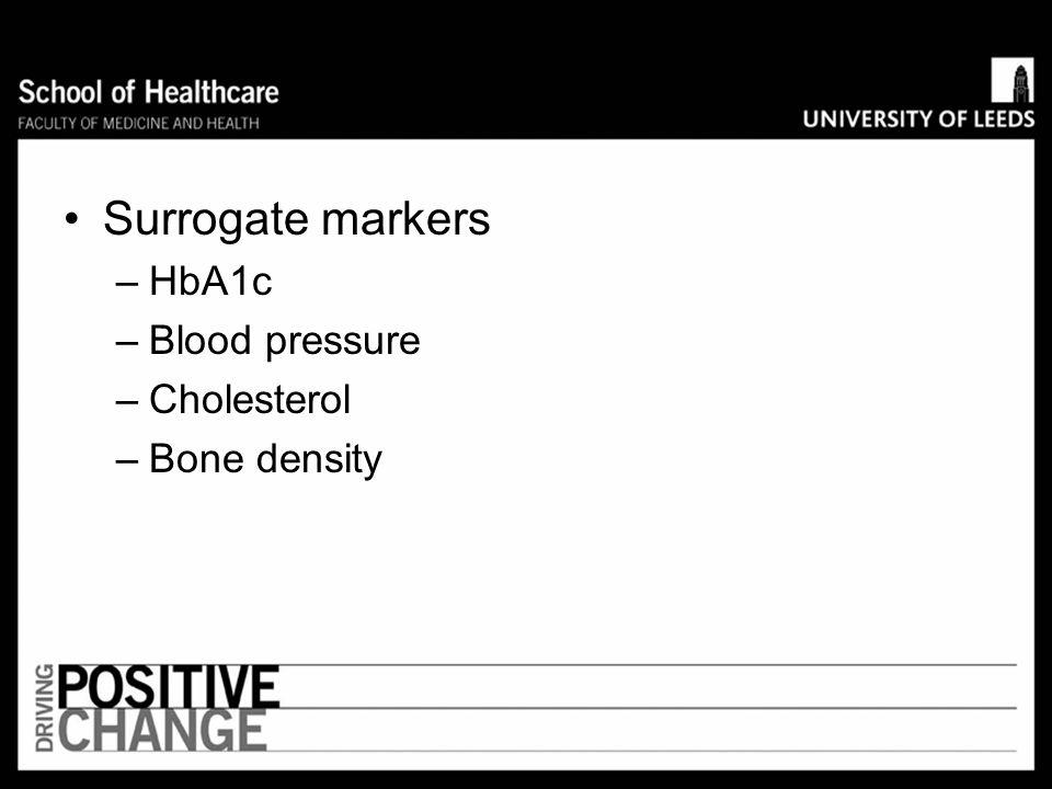 Surrogate markers HbA1c Blood pressure Cholesterol Bone density