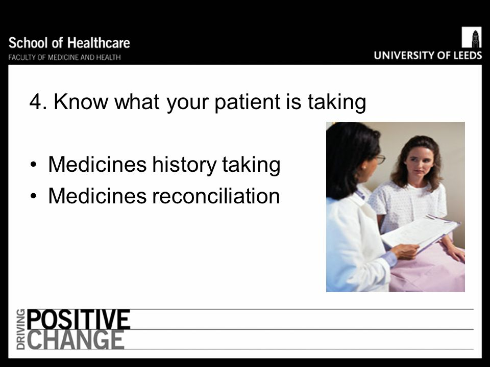 4. Know what your patient is taking