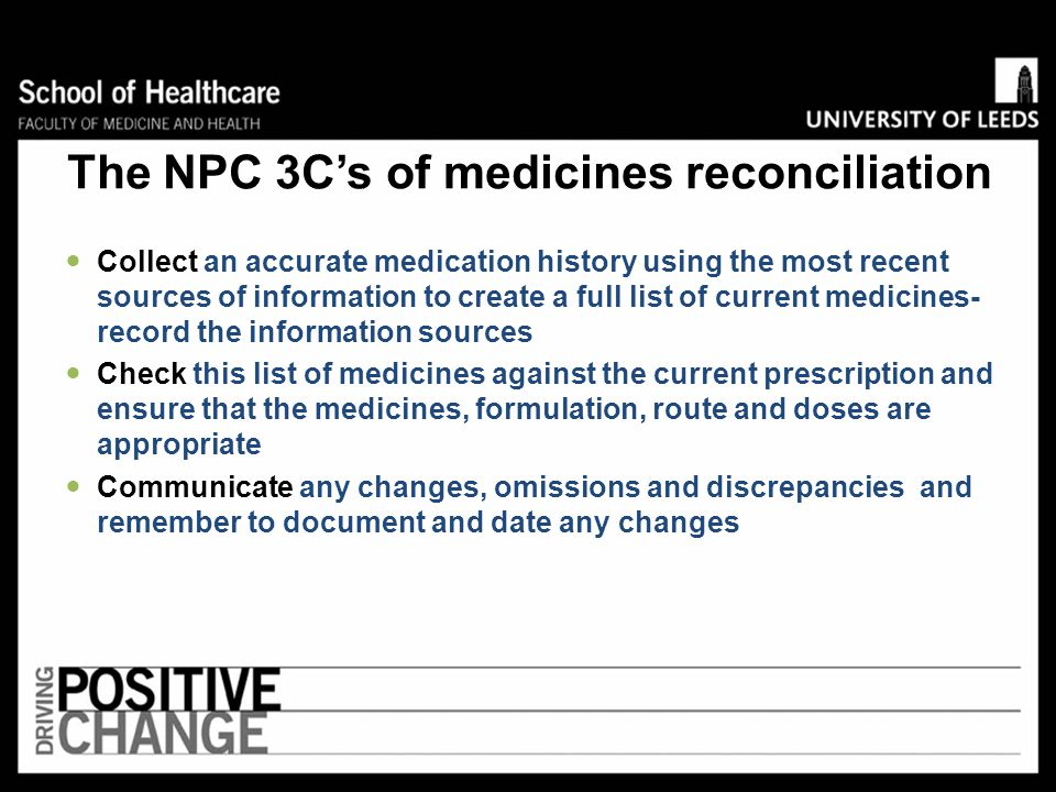 The NPC 3C's of medicines reconciliation
