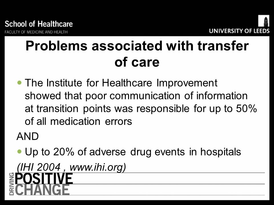 Problems associated with transfer of care