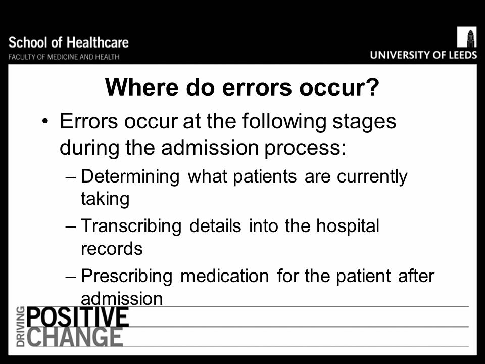 Where do errors occur Errors occur at the following stages during the admission process: Determining what patients are currently taking.