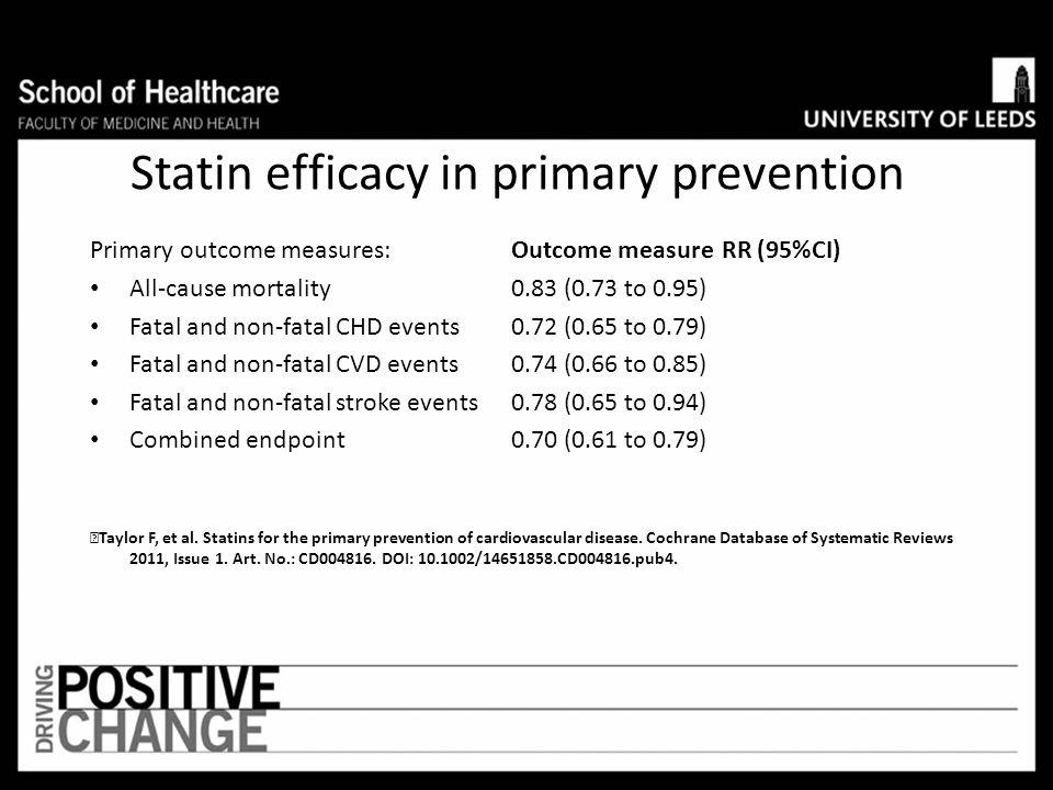 Statin efficacy in primary prevention