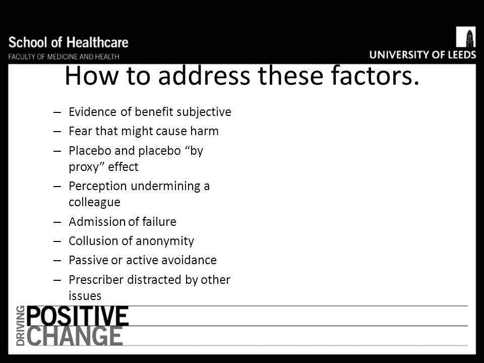 How to address these factors.