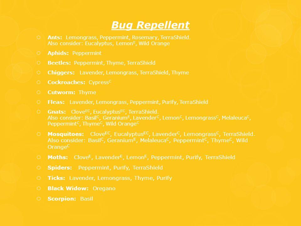 Bug Repellent Ants: Lemongrass, Peppermint, Rosemary, TerraShield. Also consider: Eucalyptus, LemonE, Wild Orange.