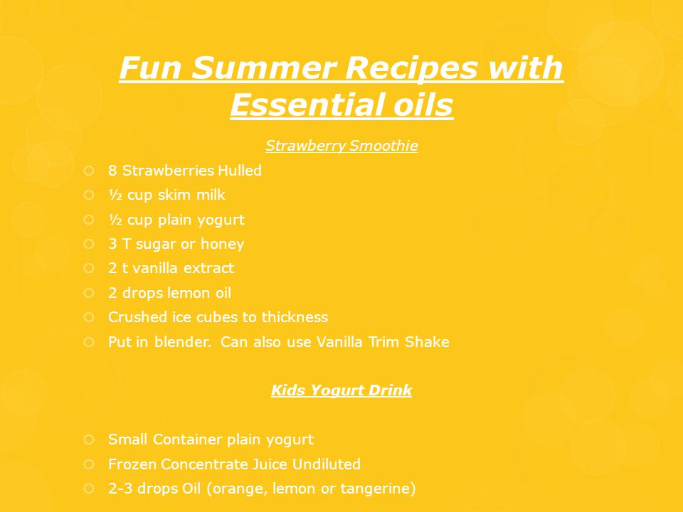 Fun Summer Recipes with Essential oils