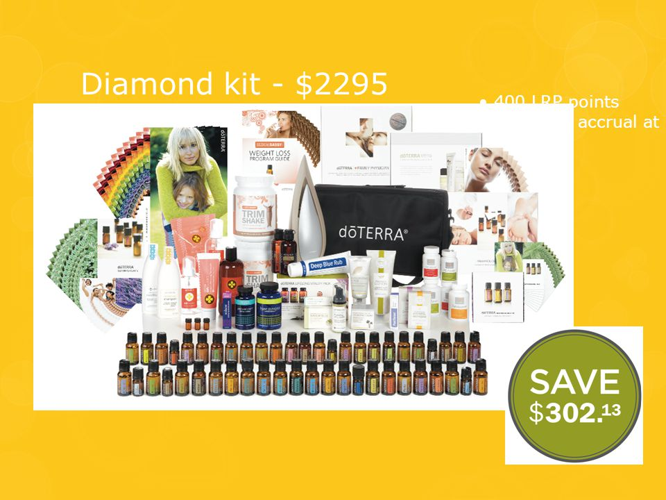 Diamond kit - $2295 • 400 LRP points • Start LRP accrual at 25%