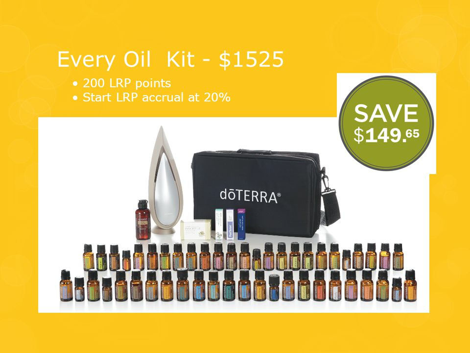 Every Oil Kit - $1525 • 200 LRP points • Start LRP accrual at 20%