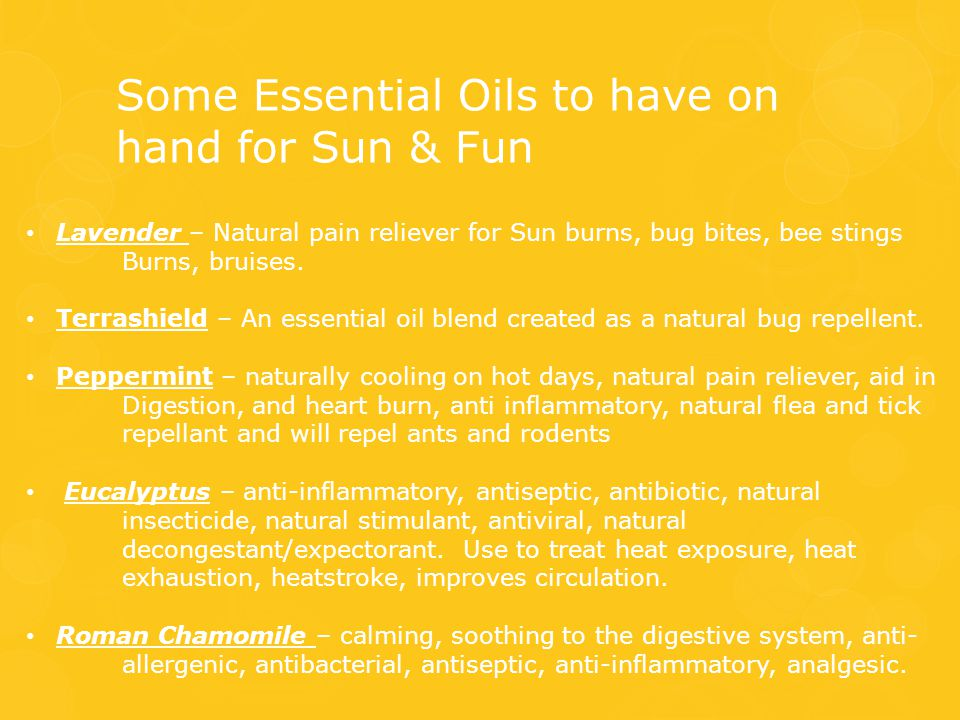 Some Essential Oils to have on hand for Sun & Fun