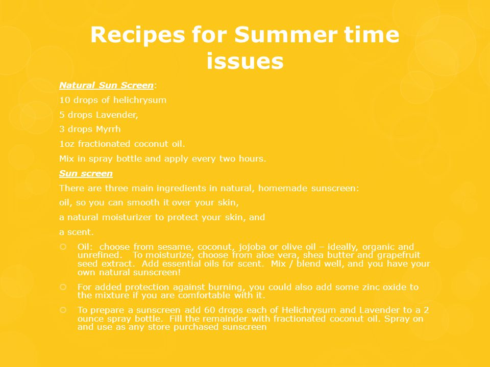 Recipes for Summer time issues