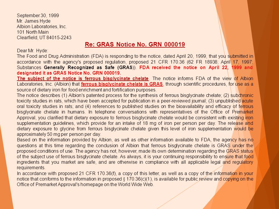 Re: GRAS Notice No. GRN 000019 September 30, 1999