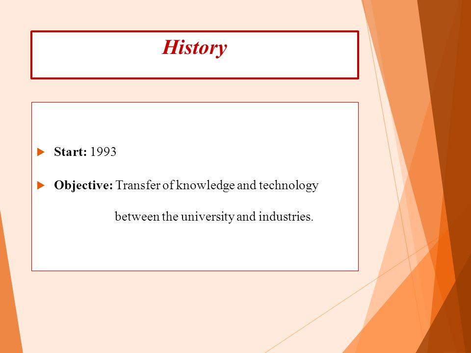 History Start: 1993 Objective: Transfer of knowledge and technology