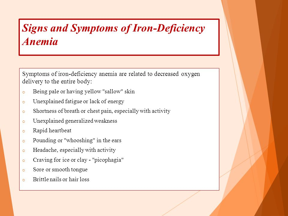 Signs and Symptoms of Iron-Deficiency Anemia