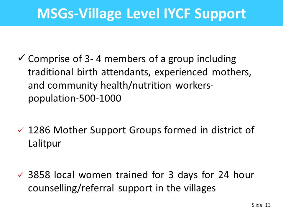 MSGs-Village Level IYCF Support