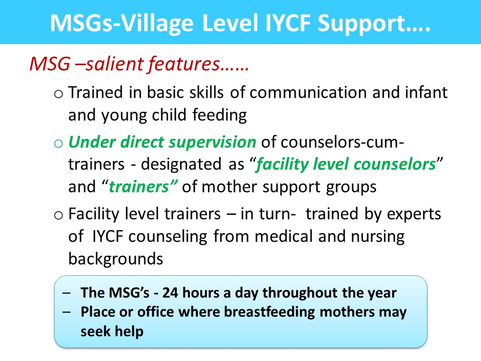 MSGs-Village Level IYCF Support….