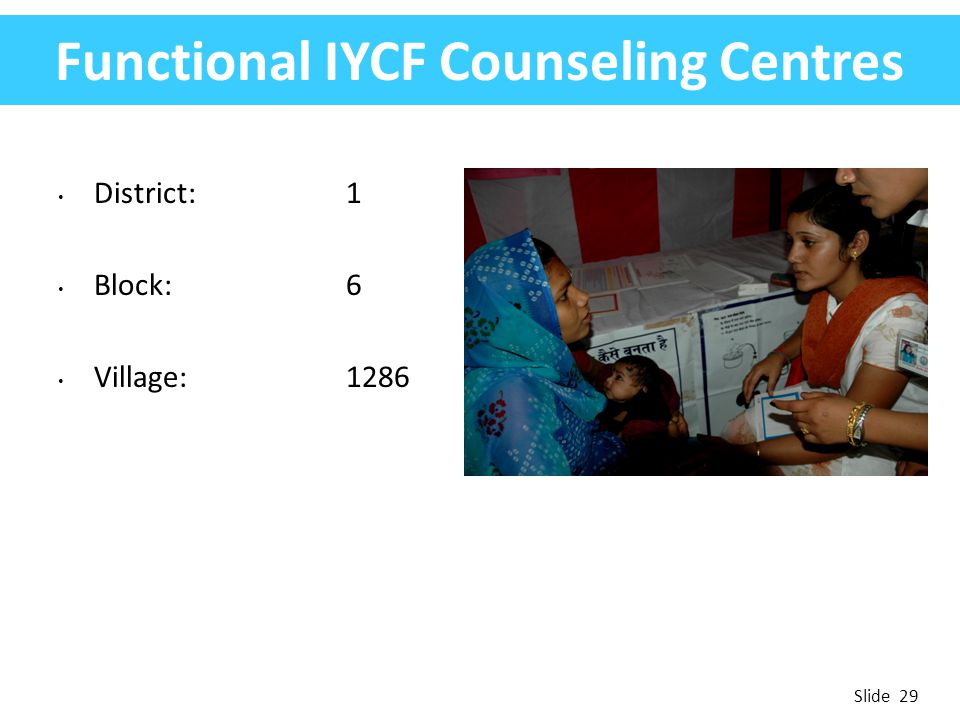 Functional IYCF Counseling Centres