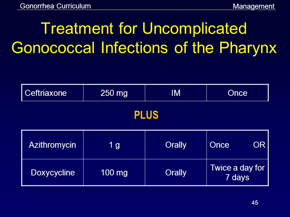 Treatment for Uncomplicated Gonococcal Infections of the Pharynx