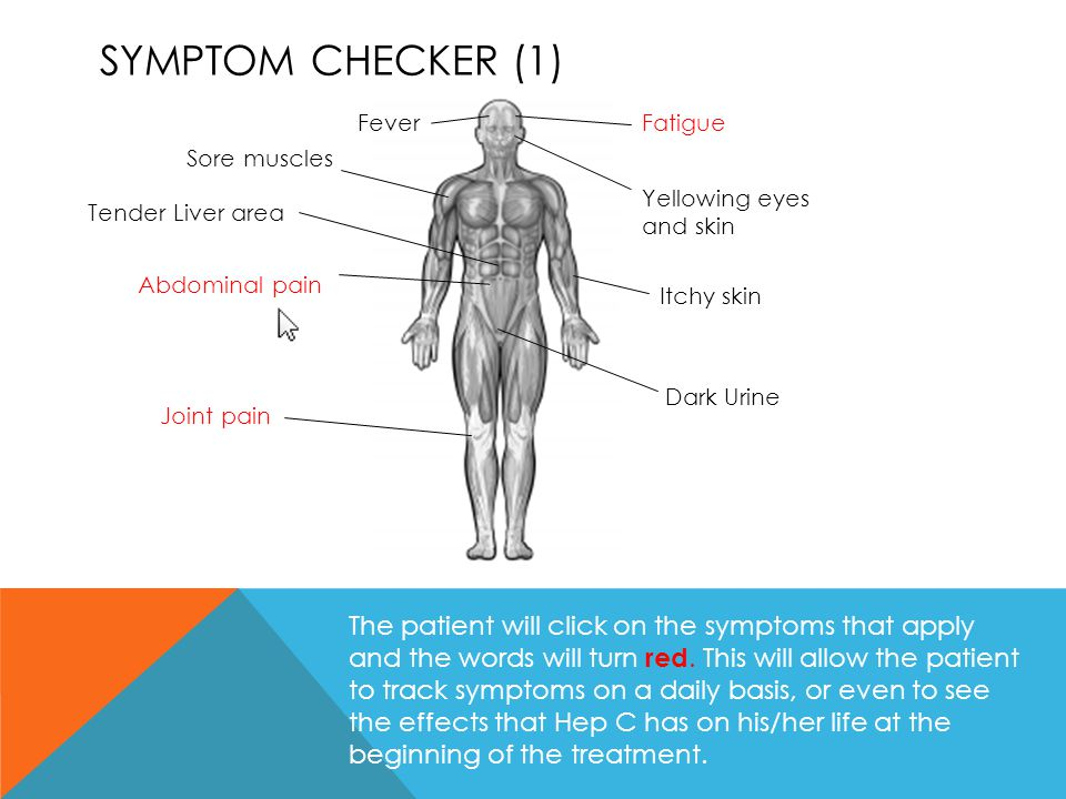 Symptom checker (1) Fever. Fatigue. Sore muscles. Yellowing eyes and skin. Tender Liver area. Abdominal pain.