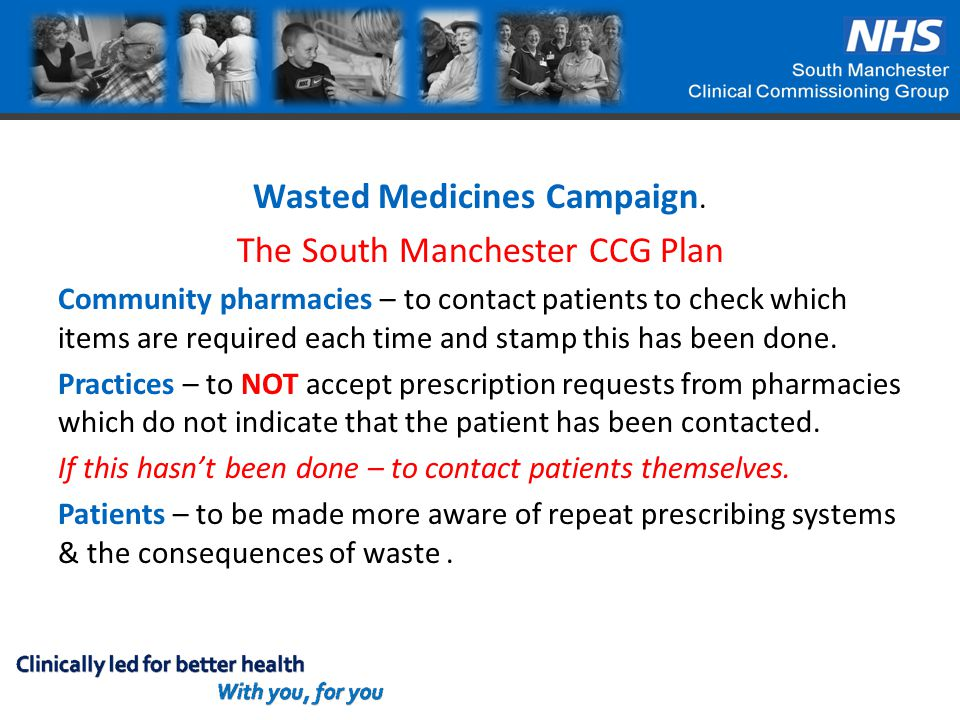 Wasted Medicines Campaign. The South Manchester CCG Plan