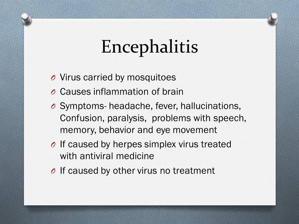 Encephalitis Virus carried by mosquitoes Causes inflammation of brain