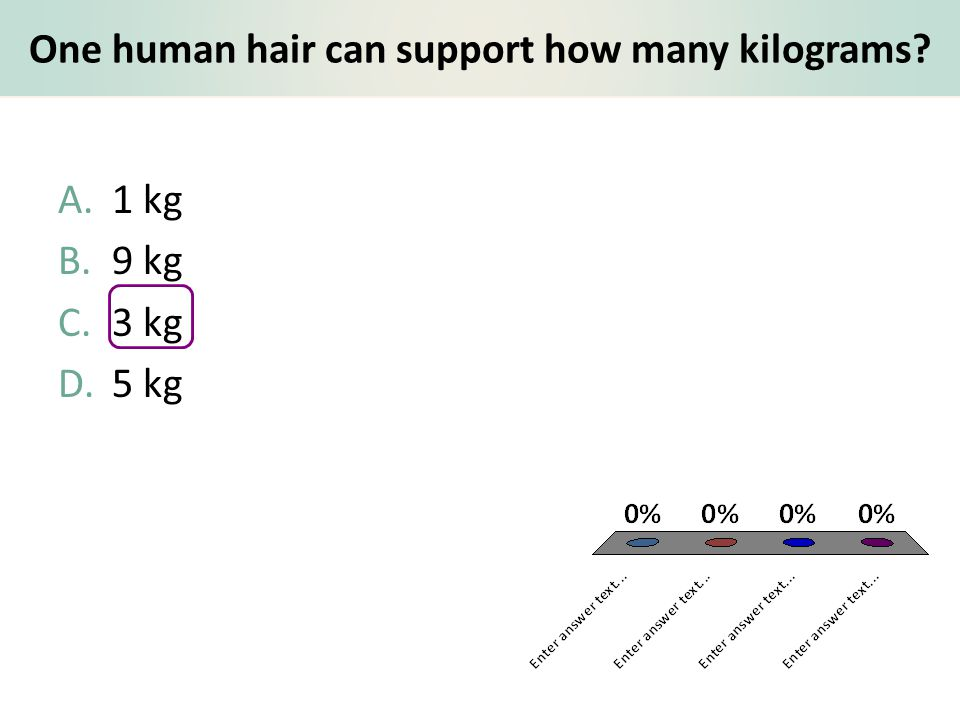 One human hair can support how many kilograms