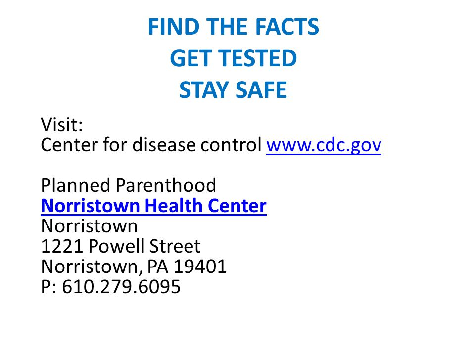 FIND THE FACTS GET TESTED STAY SAFE