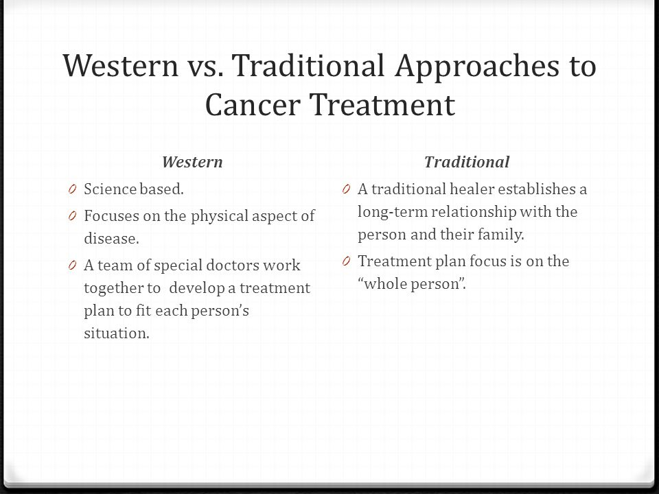 Western vs. Traditional Approaches to Cancer Treatment