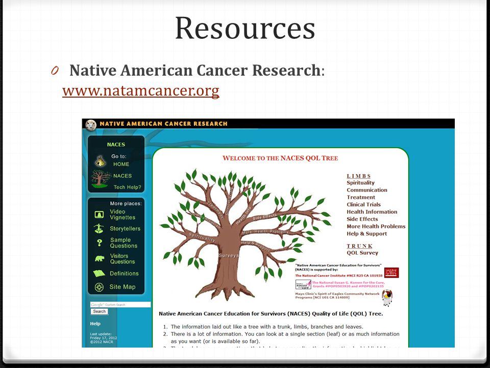 Resources Native American Cancer Research: www.natamcancer.org
