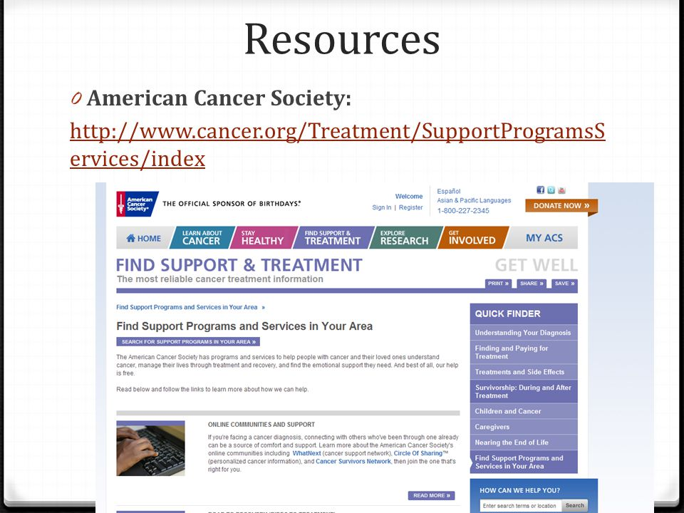 Resources American Cancer Society: