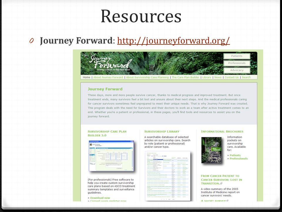 Resources Journey Forward: http://journeyforward.org/