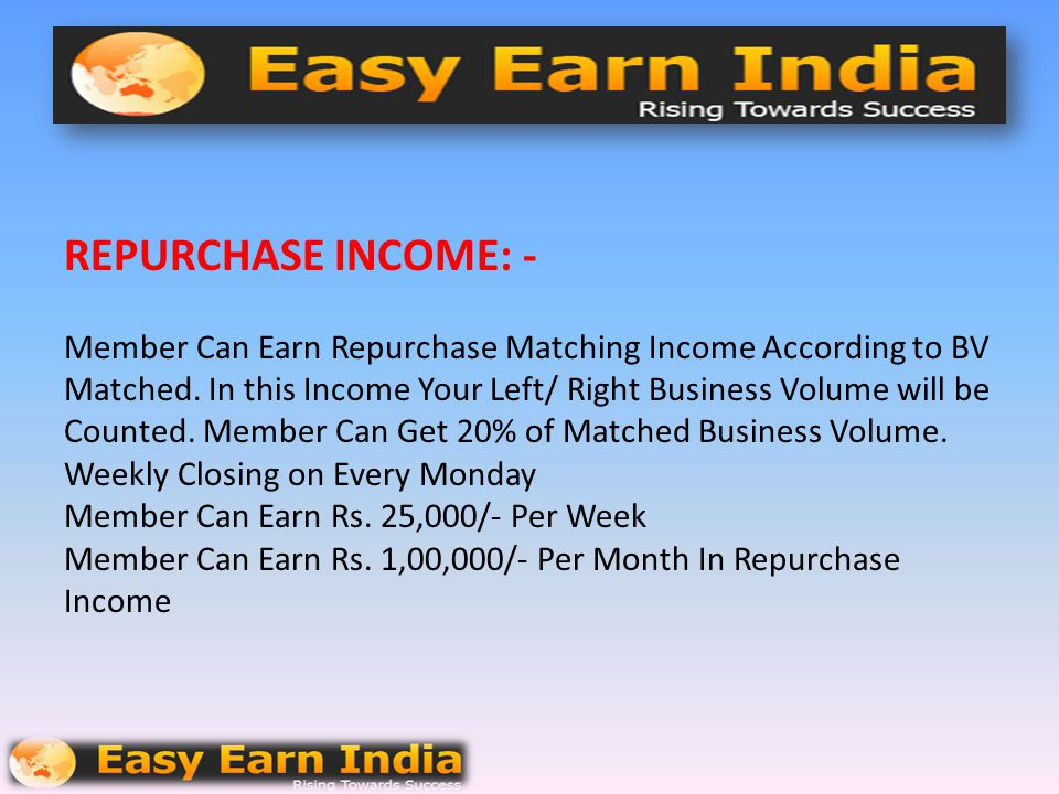 REPURCHASE INCOME: - Member Can Earn Repurchase Matching Income According to BV Matched.