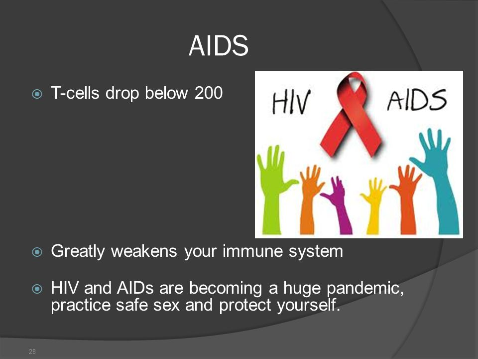 AIDS T-cells drop below 200 Greatly weakens your immune system