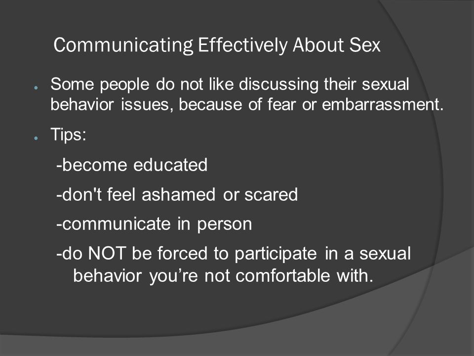Communicating Effectively About Sex