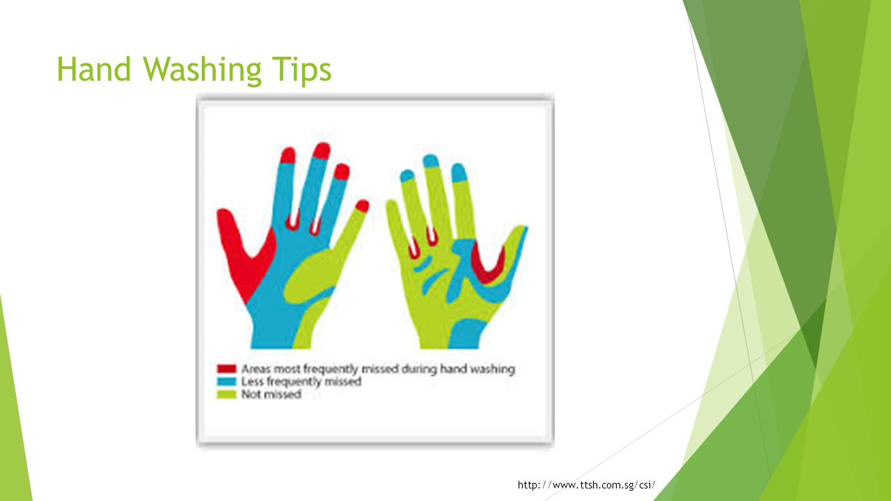 Hand Washing Tips Reiterate points just mentioned