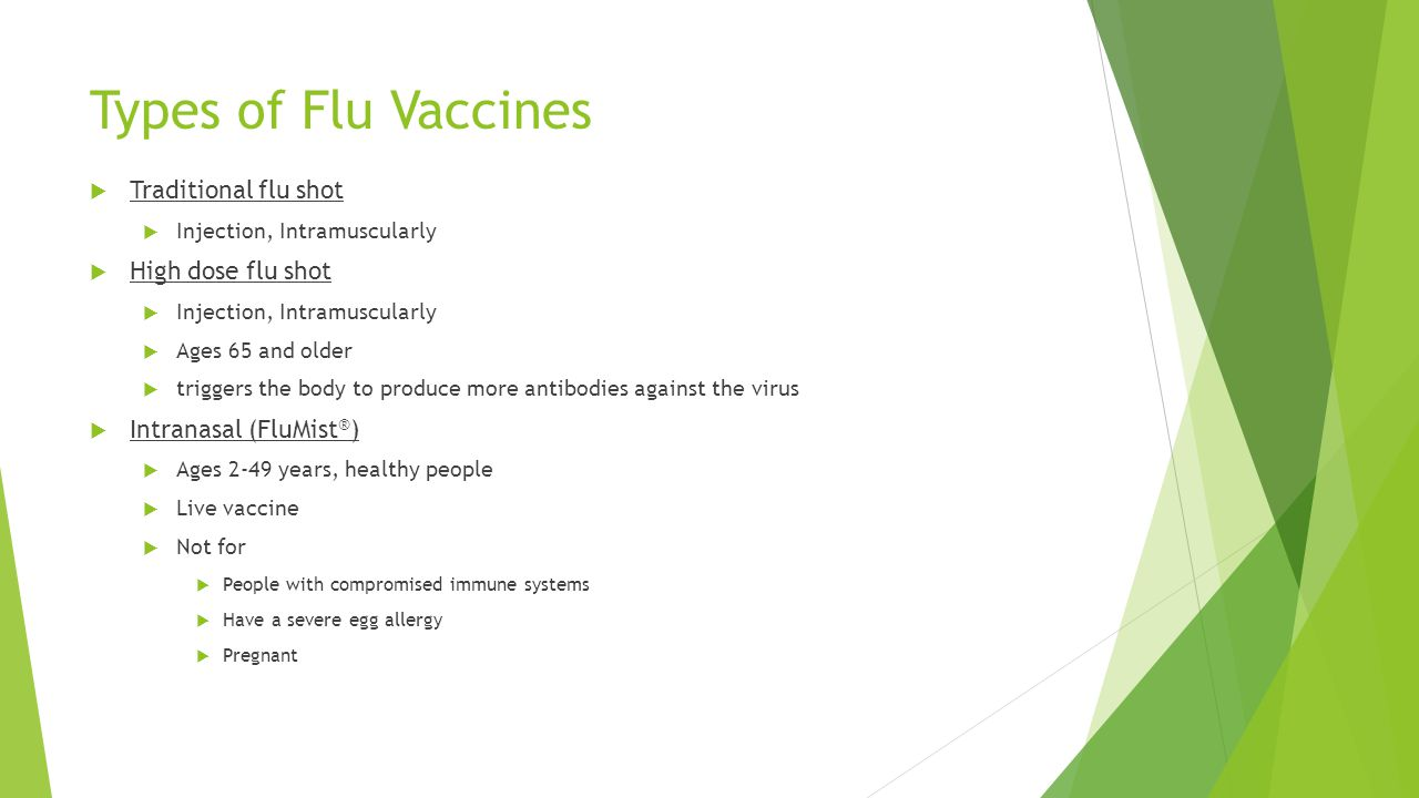 Types of Flu Vaccines Traditional flu shot High dose flu shot
