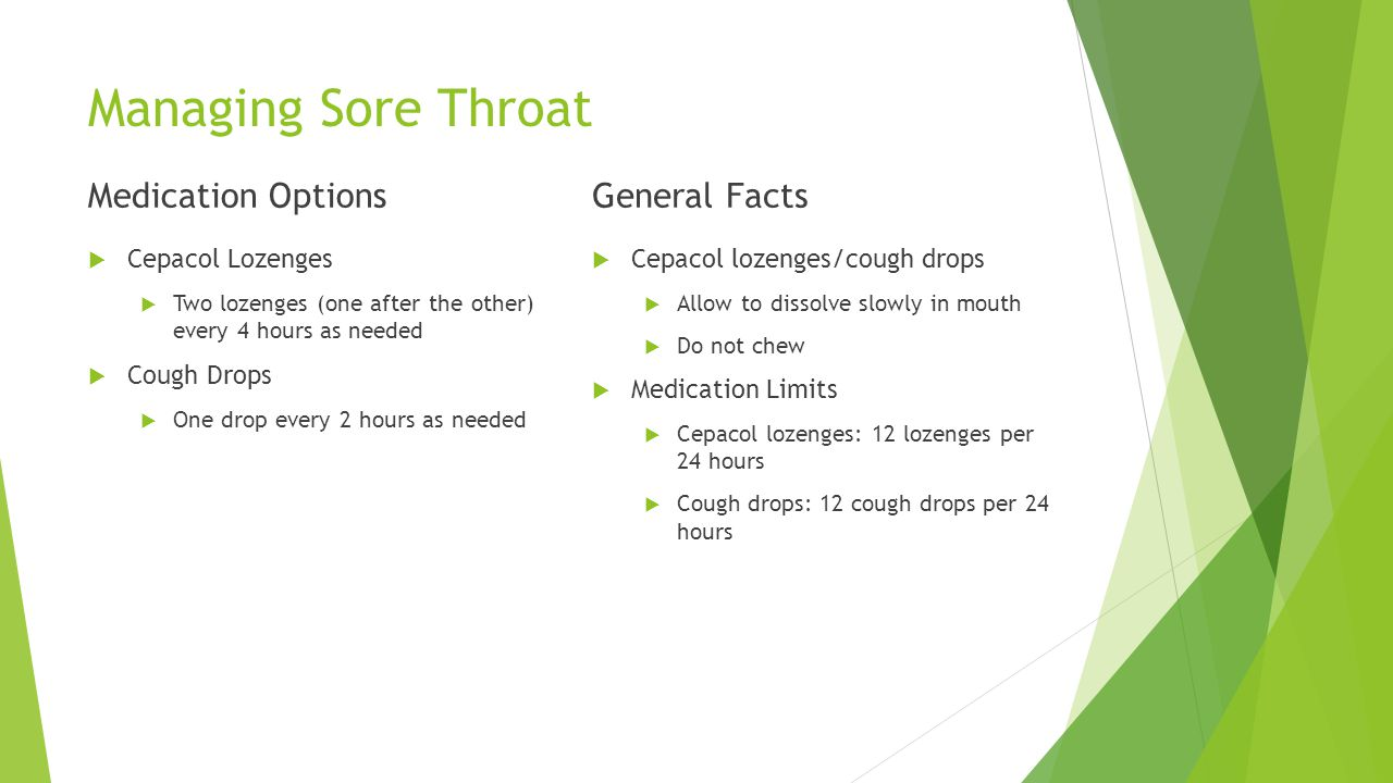 Managing Sore Throat Medication Options General Facts Cepacol Lozenges