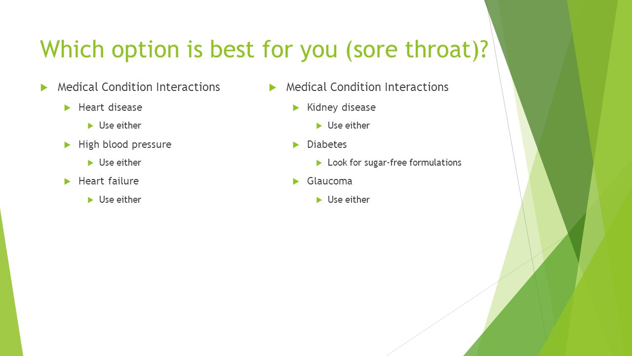Which option is best for you (sore throat)