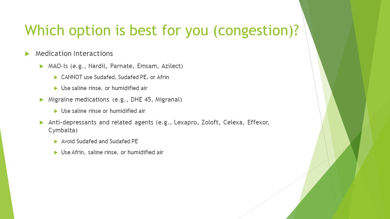 Which option is best for you (congestion)