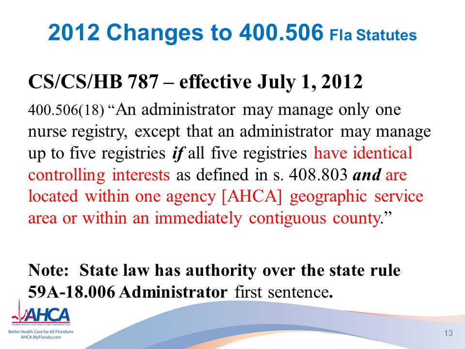 2012 Changes to 400.506 Fla Statutes