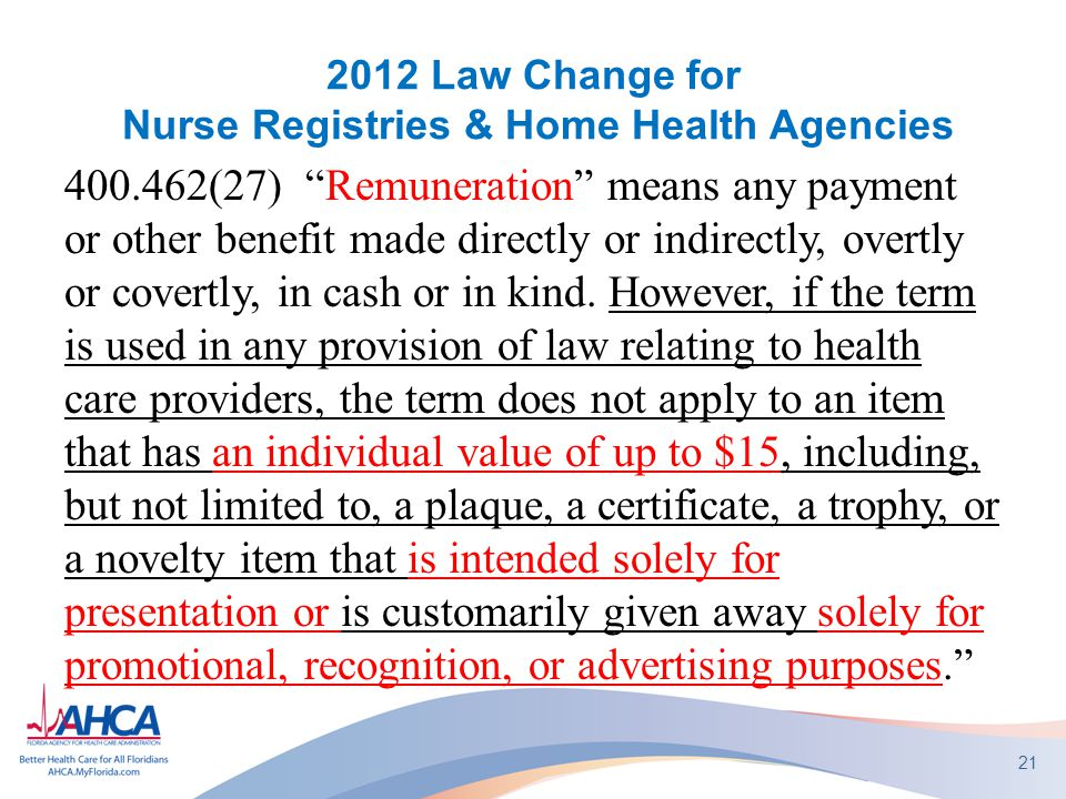 2012 Law Change for Nurse Registries & Home Health Agencies