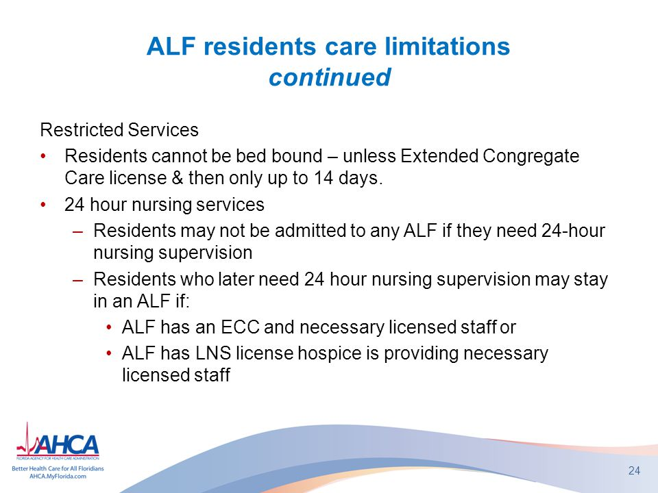 ALF residents care limitations continued