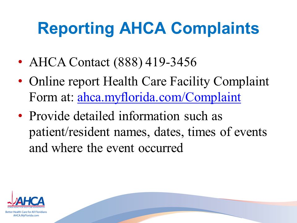Reporting AHCA Complaints