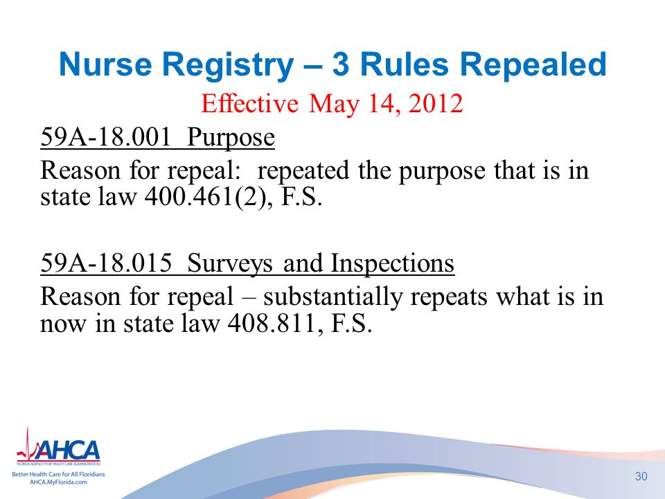 Nurse Registry – 3 Rules Repealed