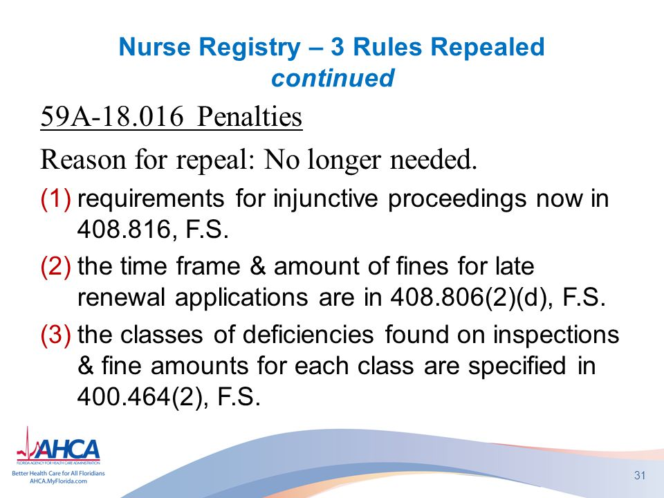 Nurse Registry – 3 Rules Repealed continued