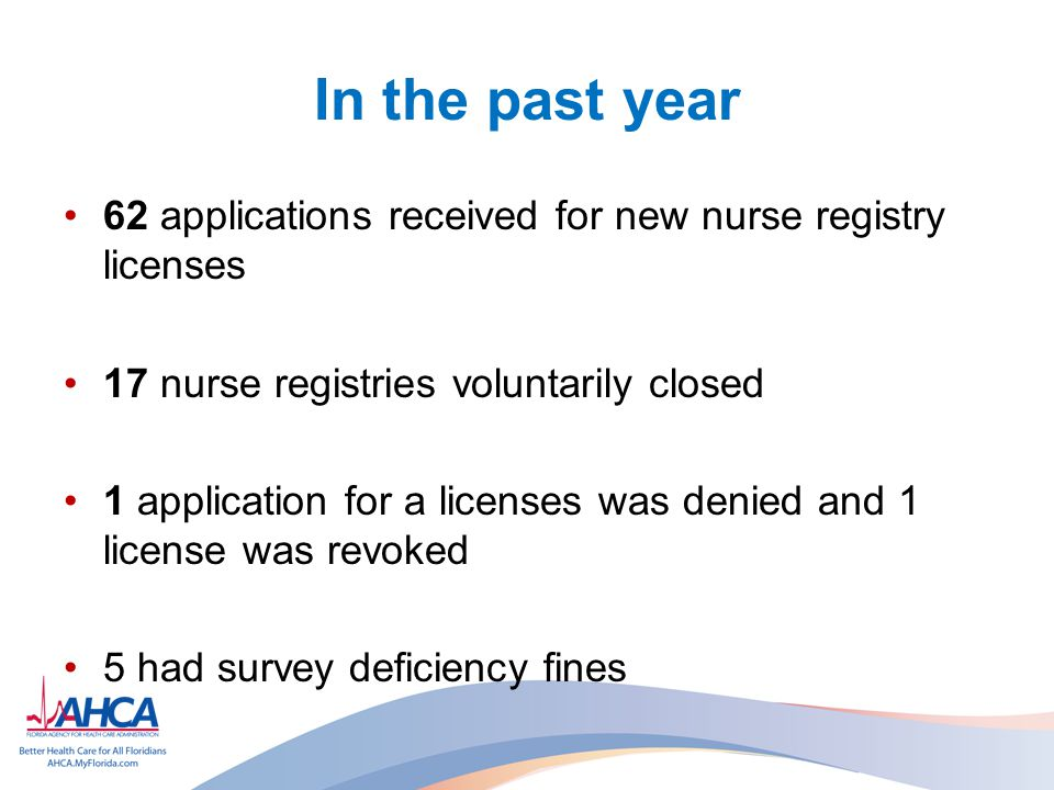 In the past year 62 applications received for new nurse registry licenses. 17 nurse registries voluntarily closed.